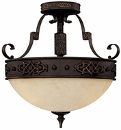 Capital Lighting 3603RI River Crest Traditional Rustic Iron Semi-Flush Flush Mount Ceiling Light Fixture