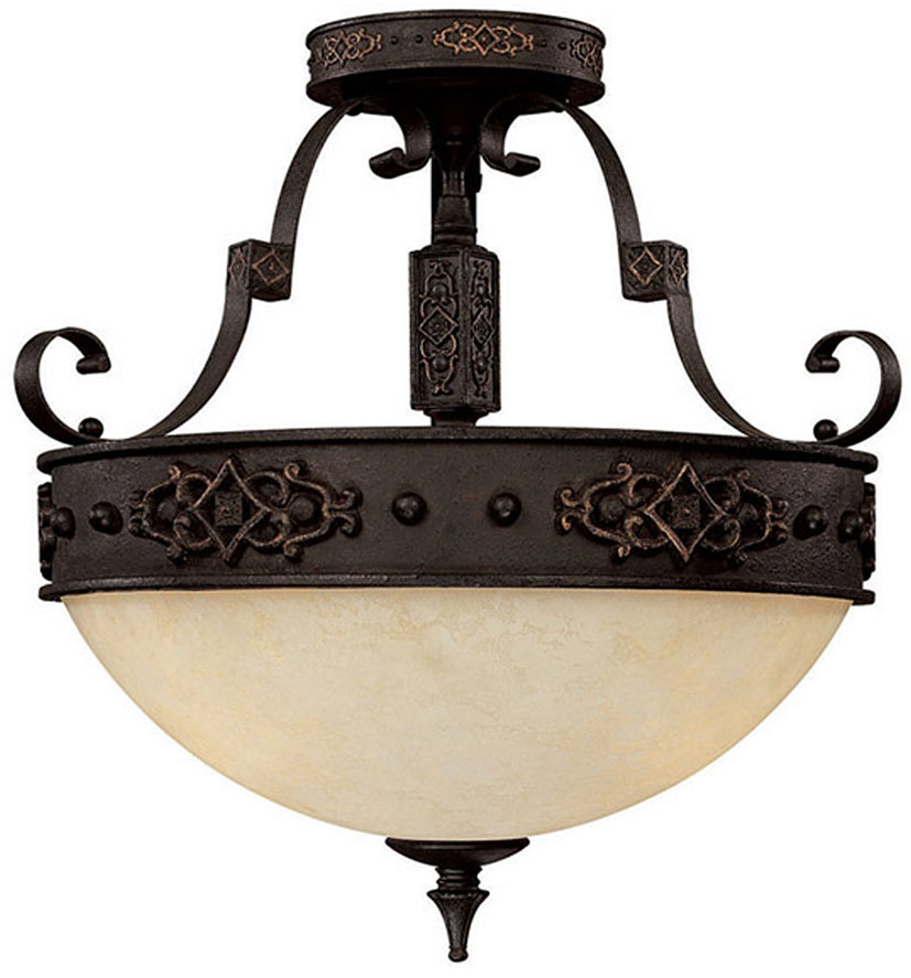 Capital lighting 3603ri river crest traditional rustic iron semi flush flush mount ceiling light fixture loading zoom