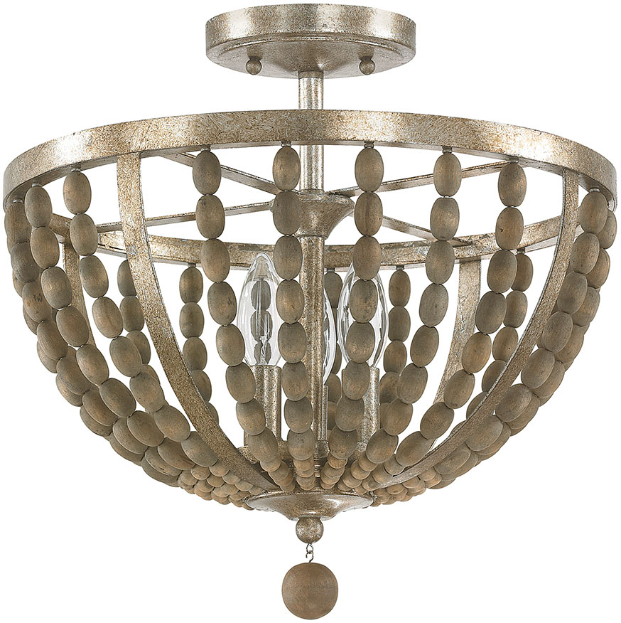 Capital Lighting 4795TZ Lowell Contemporary Tuscan Bronze With Wood Beads  Semi Flush Flush Mount Lighting. Loading Zoom