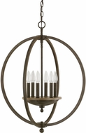 Capital Lighting 4866BA Perry Contemporary Bronze and Oak Hanging Light Fixture
