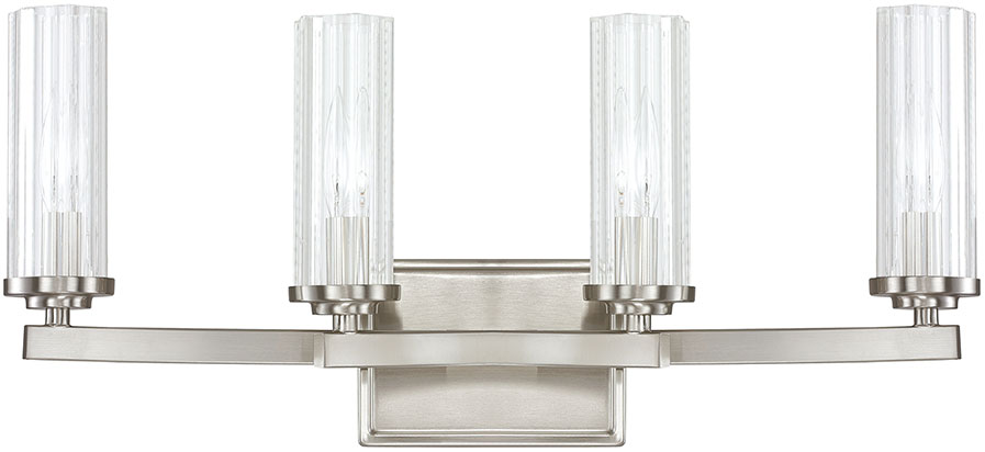 Brushed Nickel 4 Light Bathroom Vanity Wall Lighting Bath: Capital Lighting 8044BN-150 Emery Contemporary Brushed
