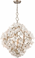 Corbett 211-46 Lily Contemporary Enchanted Silver Leaf Medium Pendant Light Fixture