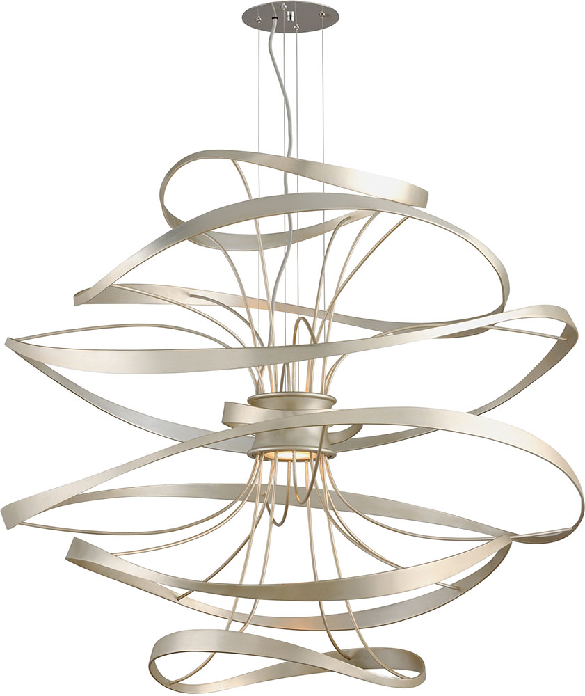 Large Contemporary Ceiling Lights : Corbett calligraphy contemporary silver leaf led