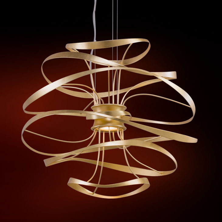 Corbett 216-41 Calligraphy Modern Gold Leaf w/ Polished Stainless Accents LED 18u0026nbsp;. Loading zoom & Corbett 216-41 Calligraphy Modern Gold Leaf w/ Polished Stainless ... azcodes.com