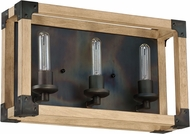 Craftmade 41503-FSNW Cubic Modern Fired Steel / Natural Wood 3-Light Lighting For Bathroom