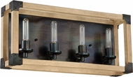 Craftmade 41504-FSNW Cubic Contemporary Fired Steel / Natural Wood 4-Light Bath Lighting