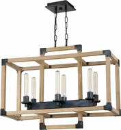 Craftmade 41526-FSNW Cubic Modern Fired Steel / Natural Wood 30  Kitchen Island Light