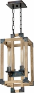 Craftmade 41534-FSNW Cubic Modern Fired Steel / Natural Wood 10.5  Foyer Lighting Fixture