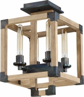 Craftmade 41554-FSNW Cubic Modern Fired Steel / Natural Wood Ceiling Light