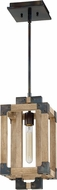 Craftmade 41591-FSNW Cubic Modern Fired Steel / Natural Wood Mini Pendant Light