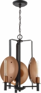 Craftmade 46523-MBKSCP Candela Contemporary Matte Black / Satin Copper Mini Chandelier Lighting