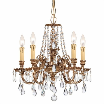 Crystorama 2805-OB-CL-MWP Novella Olde Brass Clear Hand Cut Mini Lighting Chandelier