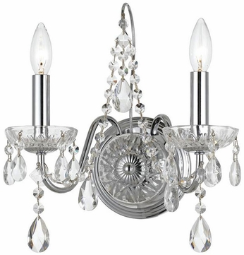 Crystorama 3022-CH Traditional Crystal Polished Chrome Clear Hand Cut Wall Sconce