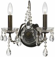 Crystorama 3022-EB Traditional Crystal English Bronze Clear Hand Cut Wall Lamp