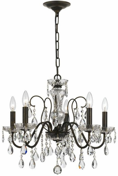 Crystorama 3025-EB Traditional Crystal English Bronze Clear Hand Cut Mini Chandelier Lighting