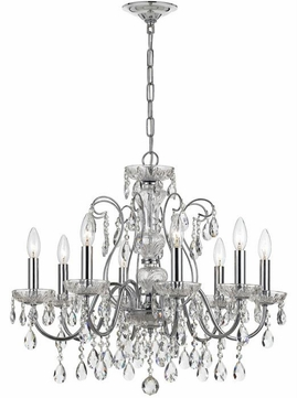 Crystorama 3028-CH Traditional Crystal Polished Chrome Clear Hand Cut Lighting Chandelier