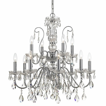 Crystorama 3029-CH Traditional Crystal Polished Chrome Clear Hand Cut Chandelier Light