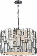 Crystorama 326-RS Lattice Modern Raw Steel Drum Ceiling Pendant Light