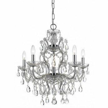 Crystorama 4455-CH-CL-MWP Filmore Chrome Clear Hand Cut Mini Chandelier Lighting