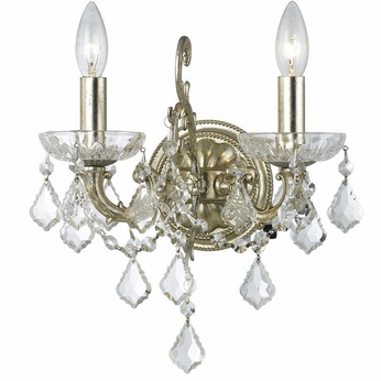 Crystorama 5282-OS-CL-SAQ Highland Park Olde Silver Clear Spectra Light Sconce