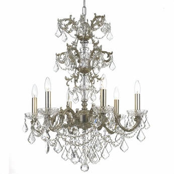 Crystorama 5286-OS-CL-MWP Highland Park Olde Silver Clear Hand Cut Chandelier Light