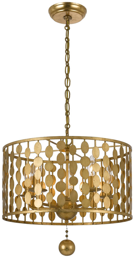 Crystorama 545 GA Layla Modern Antique Gold Drum Pendant Light Fixture.  Loading Zoom