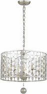 Crystorama 545-SA Layla Contemporary Antique Silver Drum Pendant Lighting Fixture