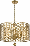 Crystorama 546-GA Layla Modern Antique Gold Drum Hanging Pendant Lighting