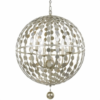 Crystorama 547-SA Layla Contemporary Antique Silver Pendant Lighting Fixture