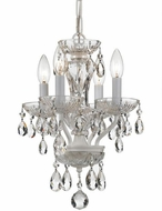 Crystorama 5534-WW-CL-SAQ Traditional Crystal Wet White Clear Spectra Mini Ceiling Chandelier