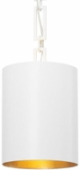 Crystorama 8680-MT-GA Alston Matte White / Antique Gold Mini Drum Pendant Light Fixture