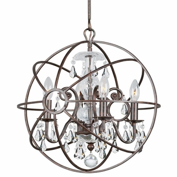 Crystorama 9025-EB-CL-S Solaris English Bronze Clear Swarovski Strass Mini Hanging Chandelier