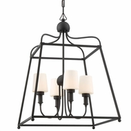 Crystorama SYL-2284-BF Sylvan Contemporary Black Forged Outdoor Pendant Light