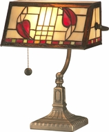 Dale Tiffany TA11010 Henderson Bankers Tiffany Antique Brass Desktop Lamp