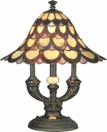 Dale Tiffany TA70112 Peacock Tiffany Antique Bronze Table Lamp Lighting