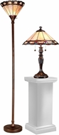 Dale Tiffany TC15045 Peacock Tiffany Dark Antique Bronze Floor Lamp / Table Lamp Set