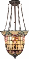 Dale Tiffany TH100476 Red Baroque Tiffany Antique Bronze Drop Ceiling Light Fixture