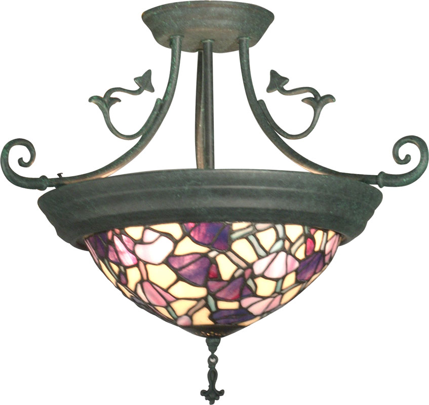 dale tiffany th10965 pink floral tiffany antique verde flush mount ceiling light fixture loading zoom