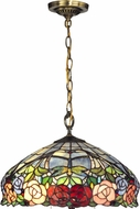 Dale Tiffany TH12233 Zenia Rose Tiffany Antique Brass Pendant Lighting