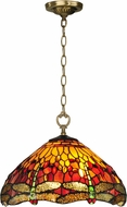 Dale Tiffany TH12270 Reves Dragonfly Tiffany Antique Brass Lighting Pendant