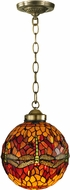 Dale Tiffany TH12271 Dragonfly Tiffany Antique Brass Lighting Pendant