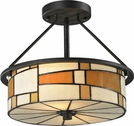 Dale Tiffany TH12462 Portola Tiffany Matte Coffee Black Flush Mount Ceiling Light Fixture