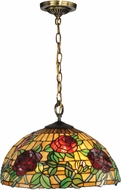 Dale Tiffany TH13112 Rosewood Tiffany Antique Brass Pendant Light Fixture