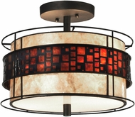 Dale Tiffany TH14005 Cobblestone Tiffany Dark Bronze Flush Lighting
