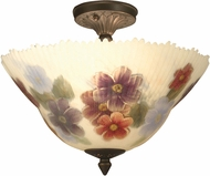 Dale Tiffany TH15047 Pansy Antique Brass Flush Mount Ceiling Light Fixture
