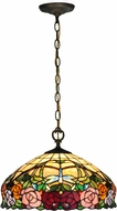 Dale Tiffany TH15068 Zenia Rose Tiffany Antique Brass Ceiling Light Pendant