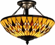 Dale Tiffany TH15092 Ginger Diamond Tiffany Antique Brass Home Ceiling Lighting