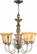 Dale Tiffany TH70702 Columbus Tulip Art Glass Antique Brass Mini Chandelier Lighting