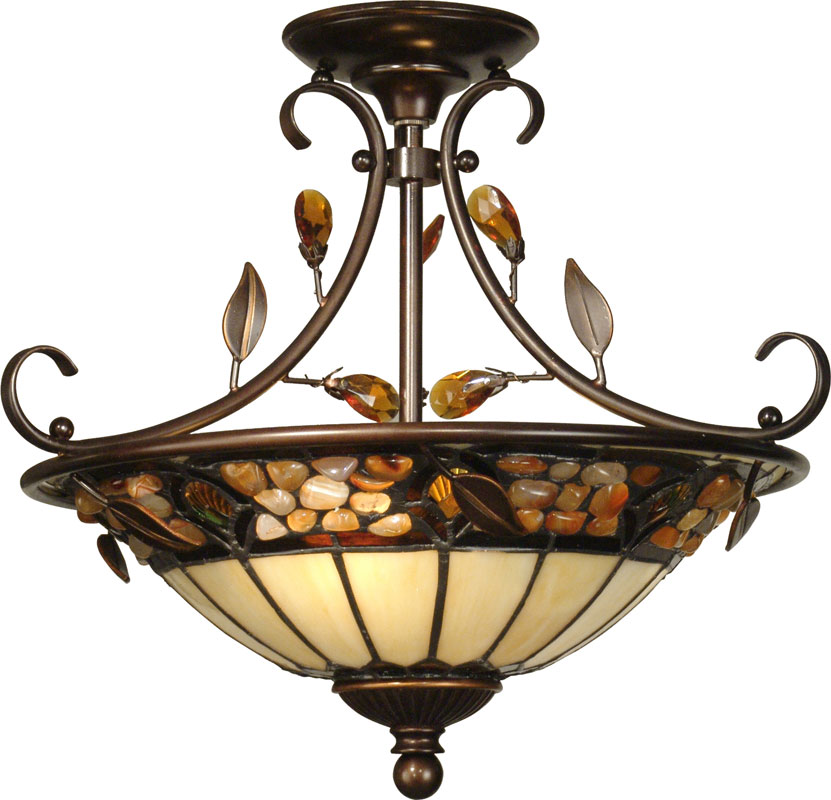 Good Dale Tiffany TH90218 Pebble Stone Antique Golden Sand Ceiling Light Fixture.  Loading Zoom