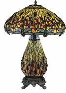 Dale Tiffany TT100273 Ridesia Jeweled Dragonfly Tiffany Antique Brass Side Table Lamp